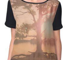 Nature background. Sunset behind a large tree. Colors: pink & beige. The lake  in the evening Chiffon Top