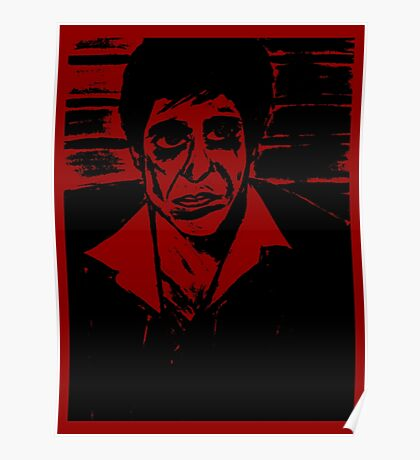 SCARFACE AL PACINO PORTRAIT RED POSTER Poster
