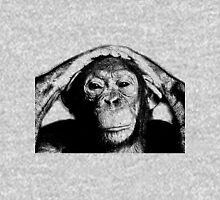 Wise Chimpanzee. Wildlife Digital Engraving Image Unisex T-Shirt