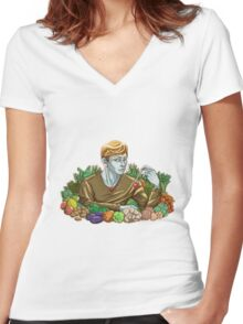 Kieren and Vegetables Women's Fitted V-Neck T-Shirt