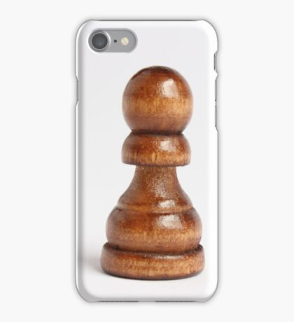 Isolated wooden chess pawn iPhone Case/Skin
