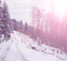 Winter landscape with setting pink sun. The coniferous forest with snow Sticker