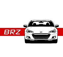 Subaru BRZ Front end with red stripe Photographic Print