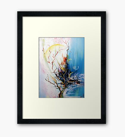 Original Landscape Tree Abstract Painting Modern Contemporary Fine Art  Framed Print