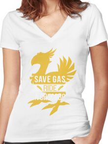 Save Gas Ride a Chocobo Women's Fitted V-Neck T-Shirt