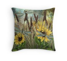 DRAGONFLIES AND SUNFLOWERS Throw Pillow