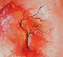 Season Change Original Tree Abstract Painting Modern Contemporary Fine Art by uniquestroke
