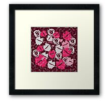 Pink Lips Heart Kiss with Love & Chocolate Abstract Framed Print
