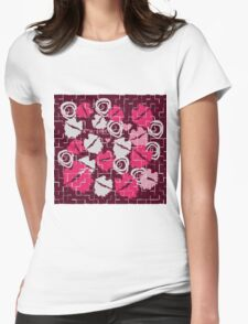Pink Lips Heart Kiss with Love & Chocolate Abstract Womens Fitted T-Shirt