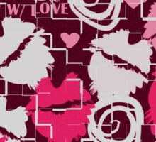 Pink Lips Heart Kiss with Love & Chocolate Abstract Sticker