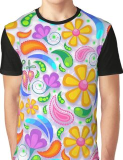 Bright Floral Design Graphic T-Shirt