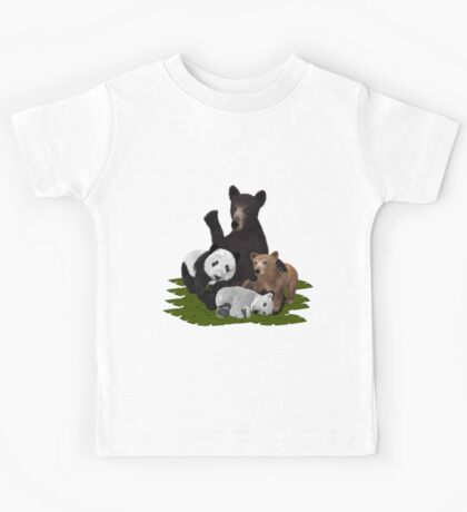 Patchwork Bear Family Kids Tee