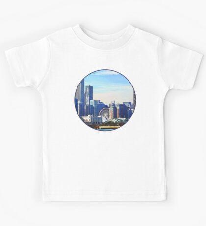 Chicago IL - Chicago Skyline and Navy Pier Kids Tee