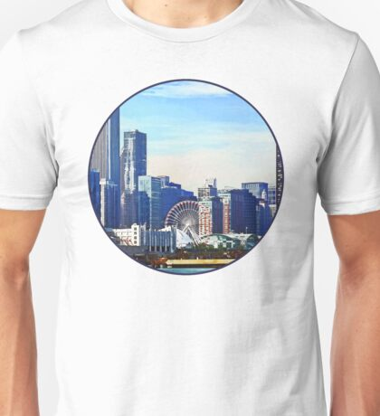 Chicago IL - Chicago Skyline and Navy Pier Unisex T-Shirt