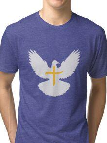 fliegen taube frieden krieg friedenstaube kreuz herr jesus logo symbol design christus glauben  Tri-blend T-Shirt