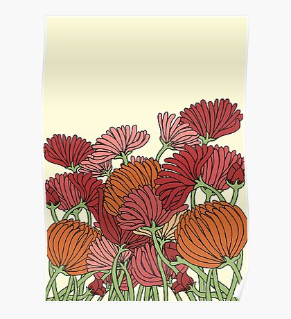 The Retro Garden Flowers Poster