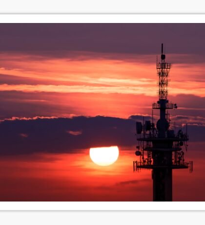 Steel tower with antennas with the beautiful red sunset as a background Sticker