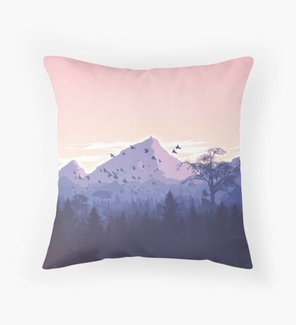 Beautiful Pink Sunset Mountains Trees Nature Landscape Throw Pillow