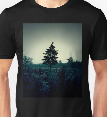 Atmospheric and dark image of the field and trees Unisex T-Shirt