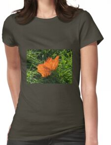 Backlit Autumn Leaf Womens Fitted T-Shirt