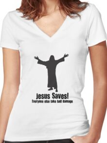 Jesus saves DnD Women's Fitted V-Neck T-Shirt