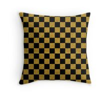 Gold Black Checkerboard Pattern Throw Pillow