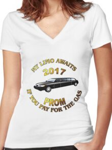 Class Of 2017 Prom My Limo Awaits Women's Fitted V-Neck T-Shirt