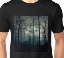 Dark blue forest with a magical mist Unisex T-Shirt