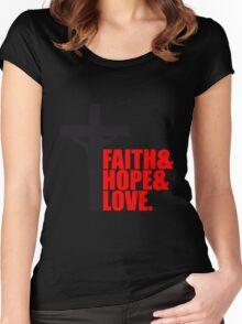 faith hope love liebe hoffnung glauben tot angenagelt kreuz symbol team crew freunde jesus christus cool logo design  Women's Fitted Scoop T-Shirt