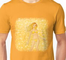 Blonde girl on yellow background Unisex T-Shirt