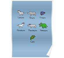 Unicorn, Bicorn, Tricorn, Quadcorn, Pentacorn, Hexacorn ... and Corn Poster