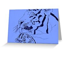 Mother Tiger and Cub - Blue Greeting Card