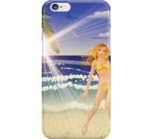 Blonde woman on beach iPhone Case/Skin