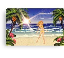 Blonde woman on beach Canvas Print