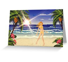Blonde woman on beach Greeting Card