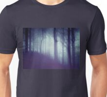 Dark blue forest with a mysterious mist Unisex T-Shirt