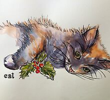Christmas cat. Elizabeth Moore Golding 2014© by Elizabeth Moore Golding