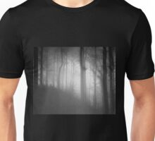 Dark black and white forest with a mysterious mist Unisex T-Shirt