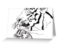 Mother Tiger and Cub - White Greeting Card
