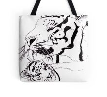 Mother Tiger and Cub - White Tote Bag