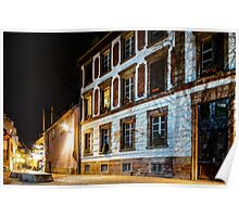 Old center of Strasbourg night street view, France Poster