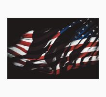 Waving USA Flag At Night Kids Tee