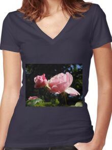 Backlit Pink Roses Women's Fitted V-Neck T-Shirt