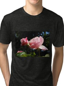 Backlit Pink Roses Tri-blend T-Shirt