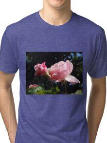 Backlit Pink Roses Tri-blend T-Shirt