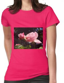 Backlit Pink Roses Womens Fitted T-Shirt