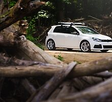 White Volkswagen MKVI Golf R by Jacob Brcic