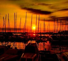 Sunset over harbour in Piran, Slovenia by Luke Farmer