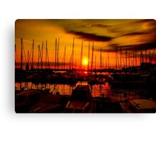 Sunset over harbour in Piran, Slovenia Canvas Print