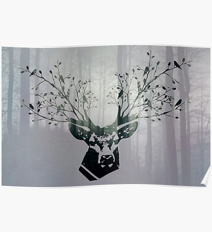 The deer head with forest colorful double exposure effect (green wood). Deer horns with flowers and birds Poster